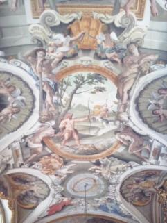 Plafondschildering waarin Herakles het meisje Deianeira redt uit de handen van de centaur Nessos.