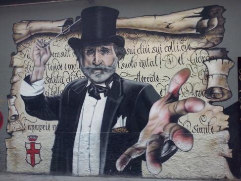 Muurschildering van Giuseppe Verdi, Milaan.