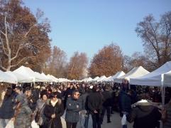 Kerstmarkt op het terrein van het Castello Sforzesco.